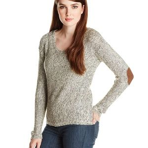RD Style Cozy Grey Knit Sweater With Elbow Patches